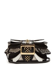 Burberry Buckle Small Snakeskin Ostrisch And Leather Bag Black White