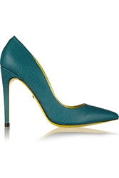 Just Cavalli Textured Leather Pumps Blue