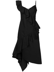 Teija Ruffled Asymmetrical Dress Black