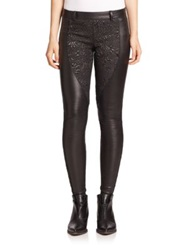 Faith Connexion Leather Brocade Leggings Black