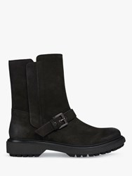 Geox 'S Asheely Nubuck Leather Buckle Calf Boots Black