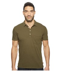 7 For All Mankind Raw Placket Polo Olive Men's Short Sleeve Pullover