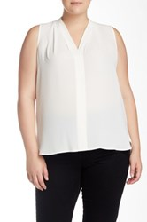 Vince Camuto Pleated V Neck Blouse Plus Size White