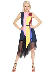 Peter Pilotto Asymmetrical Jersey And Chiffon Dress