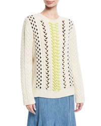Gabriela Hearst Crewneck Mix Stitch Sweater White Pattern