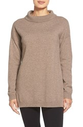 Petite Women's Eileen Fisher Cashmere Turtleneck Top Almond