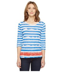 Tribal Burnout 3 4 Sleeve Combo Stripe Top Flame Women's Clothing Orange