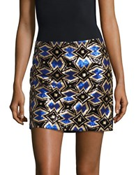 Design Lab Lord And Taylor Geo Print Mini Sequin Skirt Blue