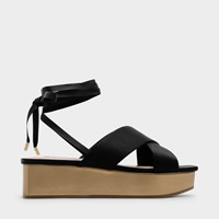 Charles And Keith Lace Up Flatform Sandals Black