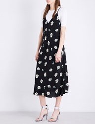 Moandco. Floral Slip Dress Pink And Black
