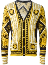Versace Baroque Argyle Cardigan Yellow And Orange