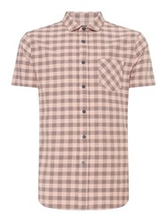 Criminal Meltham Gingham Short Sleeve Shirt Pink