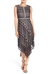 London Times Women's Geometric Lace Handkerchief Hem Dress