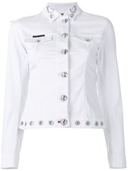 Philipp Plein Embroidered Denim Jacket White