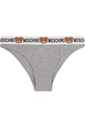Moschino Ribbed Cotton Jersey Briefs Light Gray