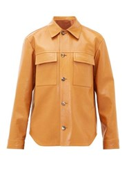 Joseph Stephan Patch Pocket Leather Overshirt Brown