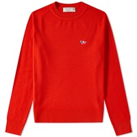 Maison Kitsune Virgin Wool Crew Knit Red