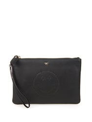 Anya Hindmarch Smiley Leather Wristlet Pouch