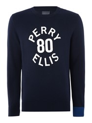 Perry Ellis Large Logo Print Long Sleeve Jumper Navy