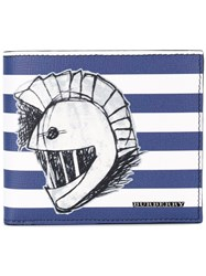 Burberry Striped Wallet Men Leather One Size Blue