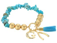 Guess Stretch Bracelet With G Wishbone And Tassel Gold Crystal Turquoise Bracelet Blue