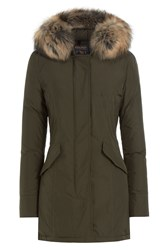 Woolrich Luxury Arctic Down Parka With Fur Trimmed Hood Green