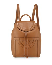 Serif T Leather Backpack Bark Brown Tory Burch