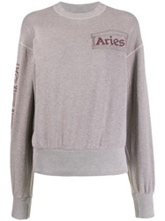 Aries Column Logo Crew Neck Sweatshirt 60
