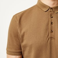 River Island Mens Camel Textured Slim Fit Polo Shirt