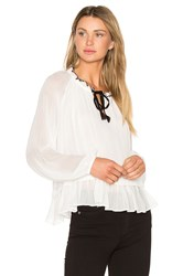 Line And Dot Tikk Peasant Top White