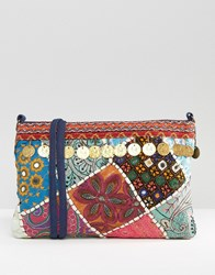Glamorous Festival Cross Body Bag With Coin Detail Multi Coin
