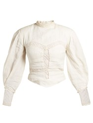 Isabel Marant Lyneth Lace High Neck Cotton Top White