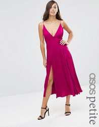 Asos Petite Cami Panelled Midi Swing Dress Fuschia Pink