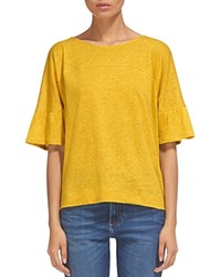 Whistles Fluted Cuff Linen Tee Yellow