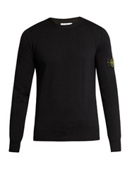 Stone Island Crew Neck Wool Sweater Black