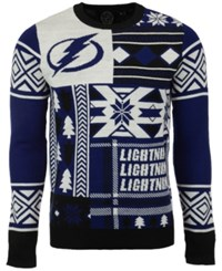 Forever Collectibles Men's Tampa Bay Lightning Patches Christmas Sweater Blue Gold