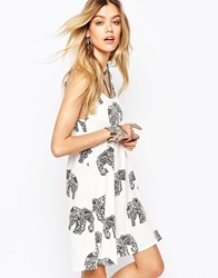 Missguided Elephant Print Cami Swing Dress White