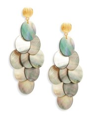 Nest Statement Grey Mother Of Pearl Chandelier Earrings
