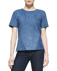Jason Wu Suede Short Sleeve Shell Blue