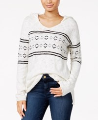 Sanctuary Hooded Fair Isle Sweater Winter White Multi