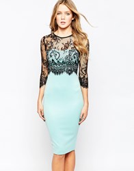 Ax Paris Bodycon Dress With Lace Sleeveses Aqua