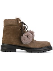 Jimmy Choo Elba Boots Leather Rabbit Fur Suede Rubber Brown