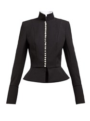 Alexandre Vauthier Crystal Button Single Breasted Wool Blend Jacket Black