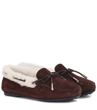 Tod's Gommino Fur Lined Suede Loafers Brown