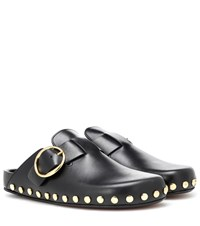 Isabel Marant Mirvin Studded Leather Slippers Black