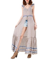 California Moonrise Santa Fe Festival Scarf Print Dress Ivory Blue