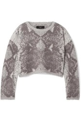 Amiri Cropped Intarsia Wool And Cashmere Blend Sweater Gray