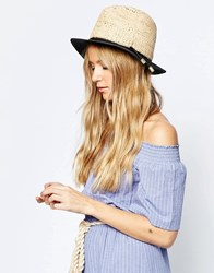 Asos Straw Trilby Hat With 2 Textured Natural Straw In Colour Block Multi