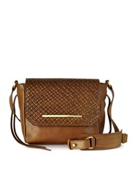 Francesco Biasia Creola Genuine Woven Leather Shoulder Bag Brown