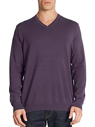 Saks Fifth Avenue Cotton Blend V Neck Sweater Deep Purple